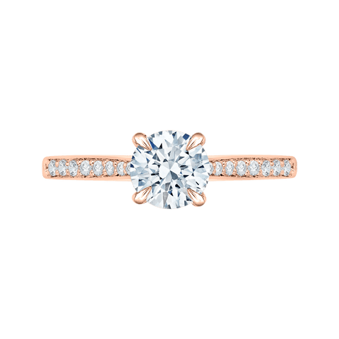 Image of 14K Rose Gold And Diamond Solitaire Semi-Mount