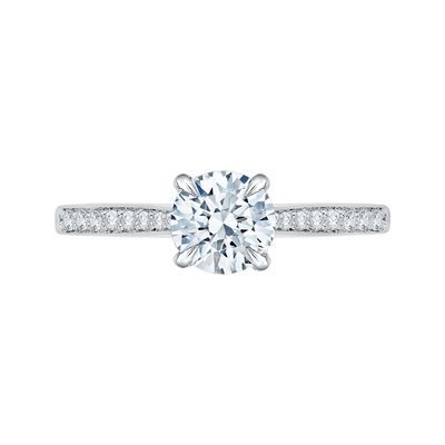 14K White Gold Round Diamond Solitaire with Accents Engagement Ring (Semi Mount) Engagement Ring CARIZZA