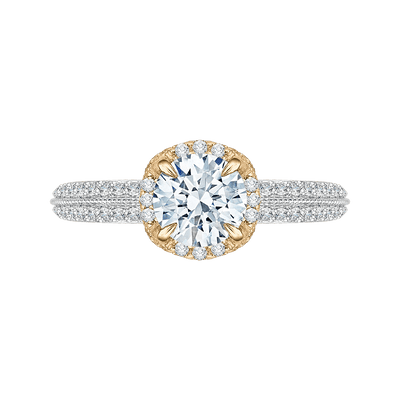 14K Two Tone Gold Euro Shank Round Diamond Engagement Ring (Semi Mount) Engagement Ring CARIZZA