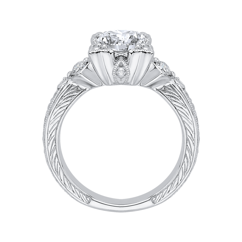 Round Diamond Vintage Engagement Ring In 14K White Gold (Semi Mount) Engagement Ring CARIZZA