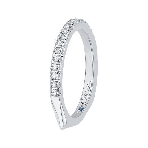 Image of 14K-White-Gold-Half-Eternity-Diamond-Wedding-Band-with-Euro-Shank