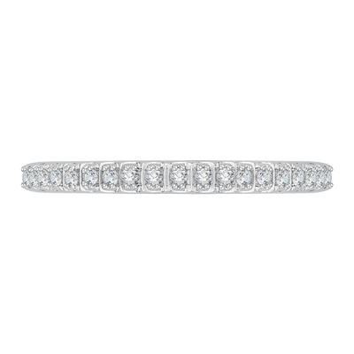 14K White Gold Half Eternity Diamond Wedding Band with Euro Shank Wedding Band CARIZZA