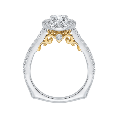Image of 14K-Two-Tone-Gold-Round-Cut-Diamond-Halo-Engagement-Ring-(Semi-Mount)