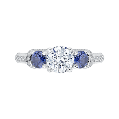 14K White Gold Euro Shank Round Diamond and Sapphire Three Stone Engagement Ring (Semi Mount) Engagement Ring CARIZZA