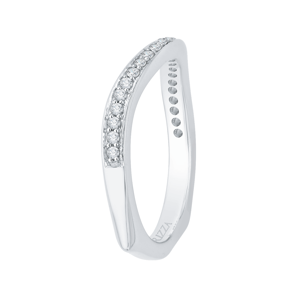 14K White Gold Diamond Wedding Band with Euro Shank Wedding Band CARIZZA