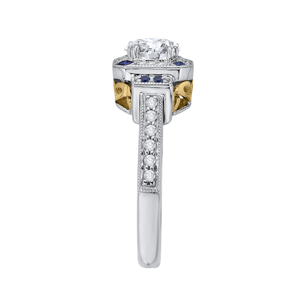 14K Two Tone Gold Round Diamond and Sapphire Engagement Ring (Semi Mount) Engagement Ring CARIZZA