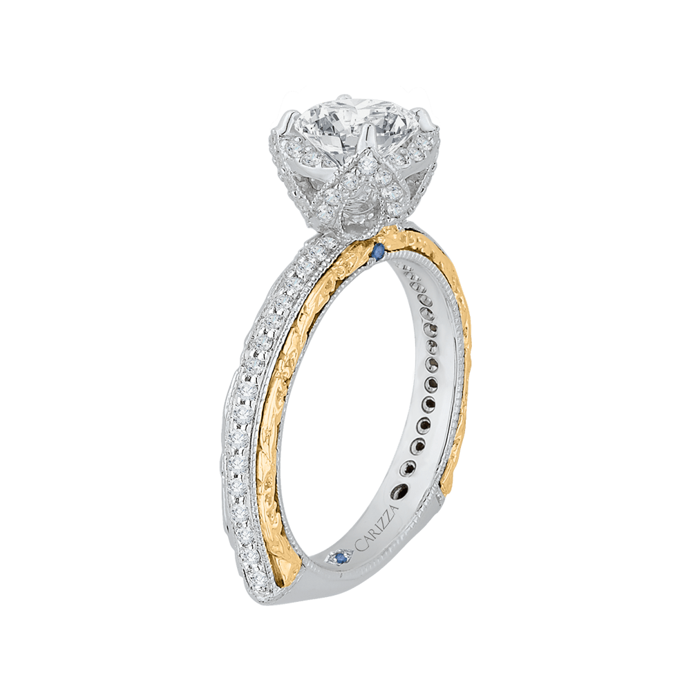 14K Two Tone Gold Round Diamond Engagement Ring with Euro Shank (Semi Mount) Engagement Ring CARIZZA