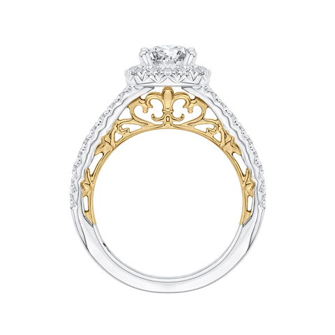 Image of 14K-Two-Tone-Gold-Round-Diamond-Halo-Engagement-Ring-(Semi-Mount)