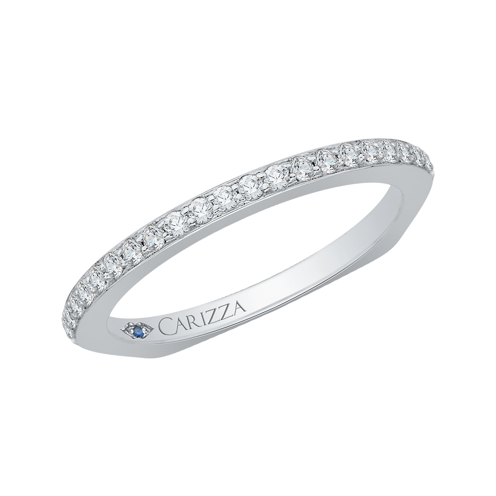 14K White Gold Round Diamond Wedding Band with Euro Shank Wedding Band CARIZZA