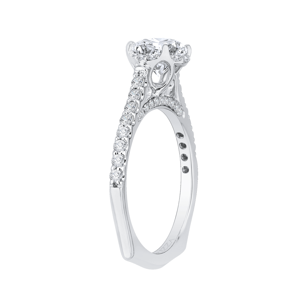 14K White Gold Round Diamond Floral Engagement Ring with Euro Shank (Semi Mount) Engagement Ring CARIZZA