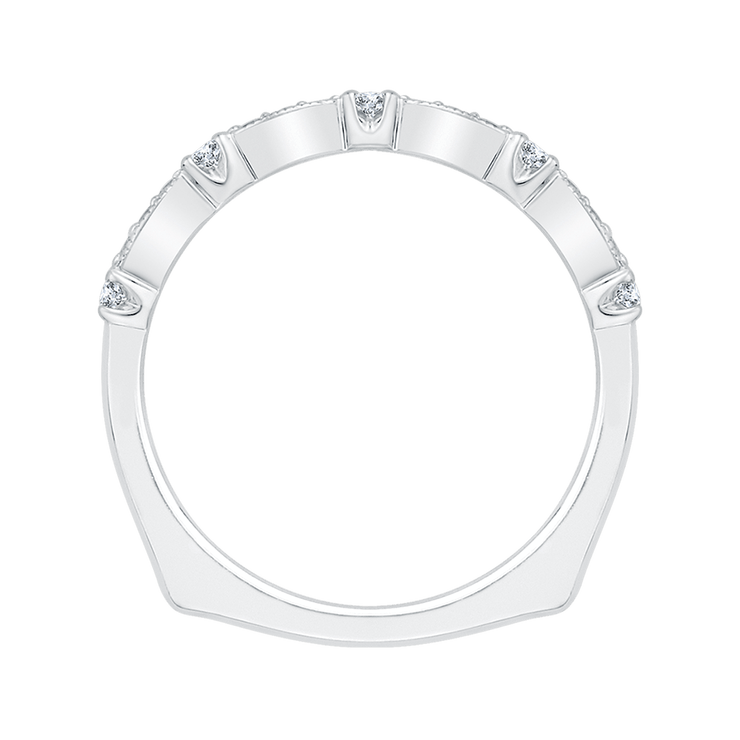 Round Diamond Wedding Band with Euro Shank In 14K White Gold Wedding Band CARIZZA
