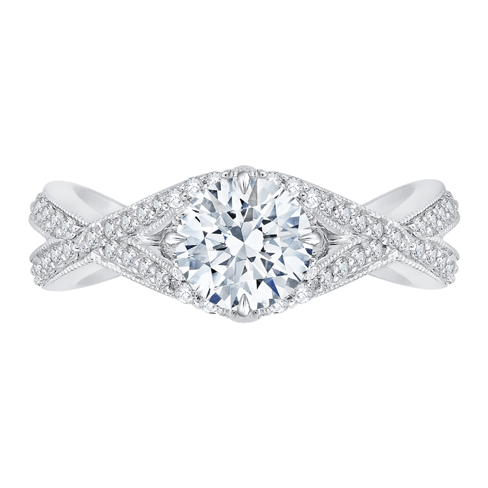 14K White Gold Split Shank Round Diamond Engagement Ring (Semi Mount) Engagement Ring CARIZZA