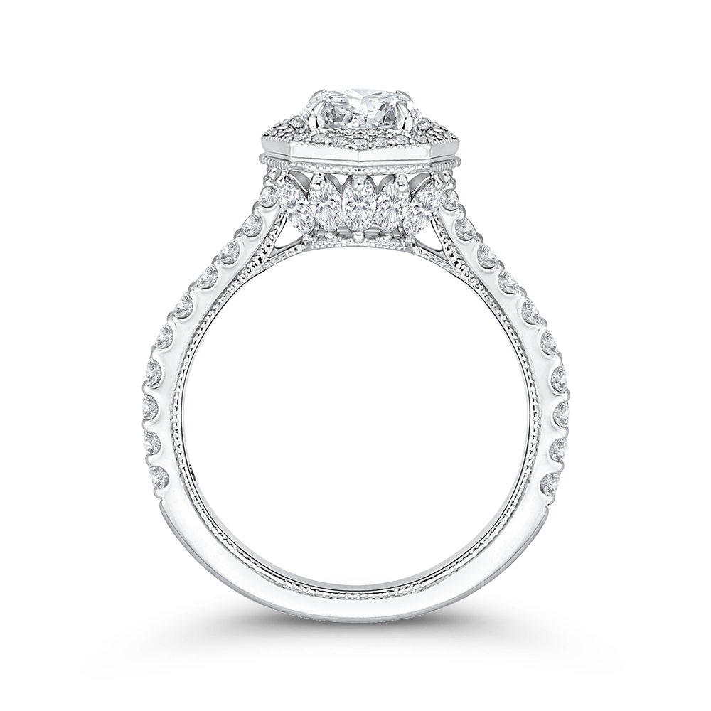 14K White Gold Round Cut Diamond Octagon Shape Halo Engagement Ring (Semi Mount) Engagement Ring CARIZZA