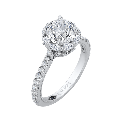 Image of 14K-White-Gold-Round-Cut-Diamond-Halo-Engagement-Ring-(Semi-Mount)