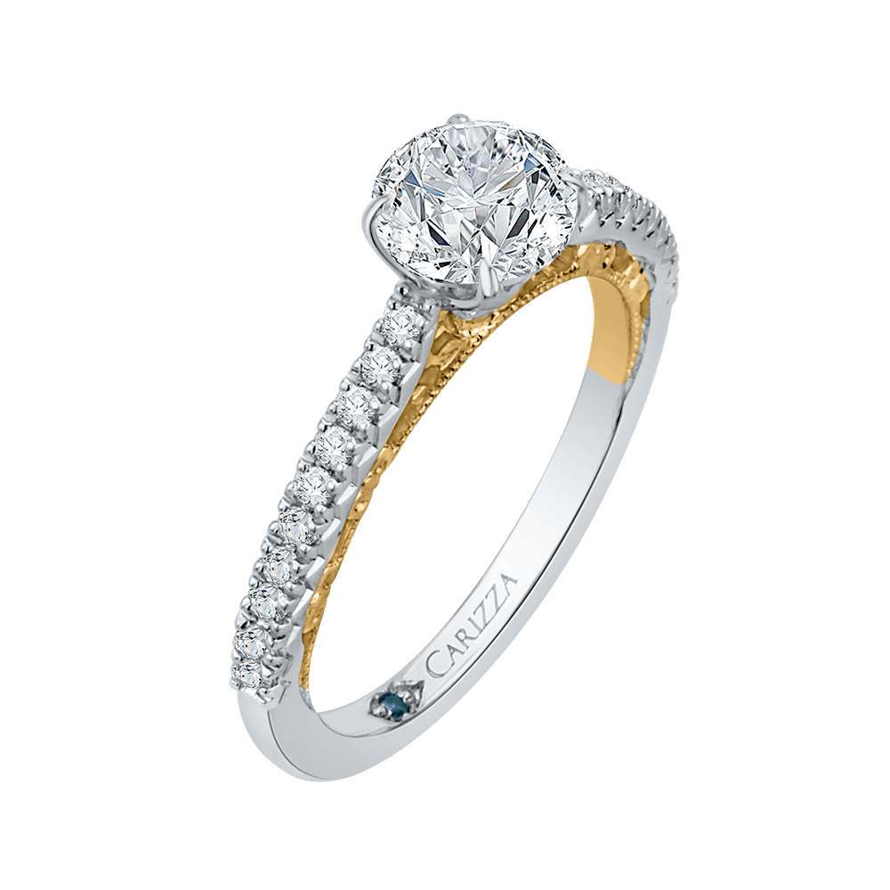 Round Diamond Engagement Ring In 14K Two Tone Gold (Semi Mount) Engagement Ring CARIZZA