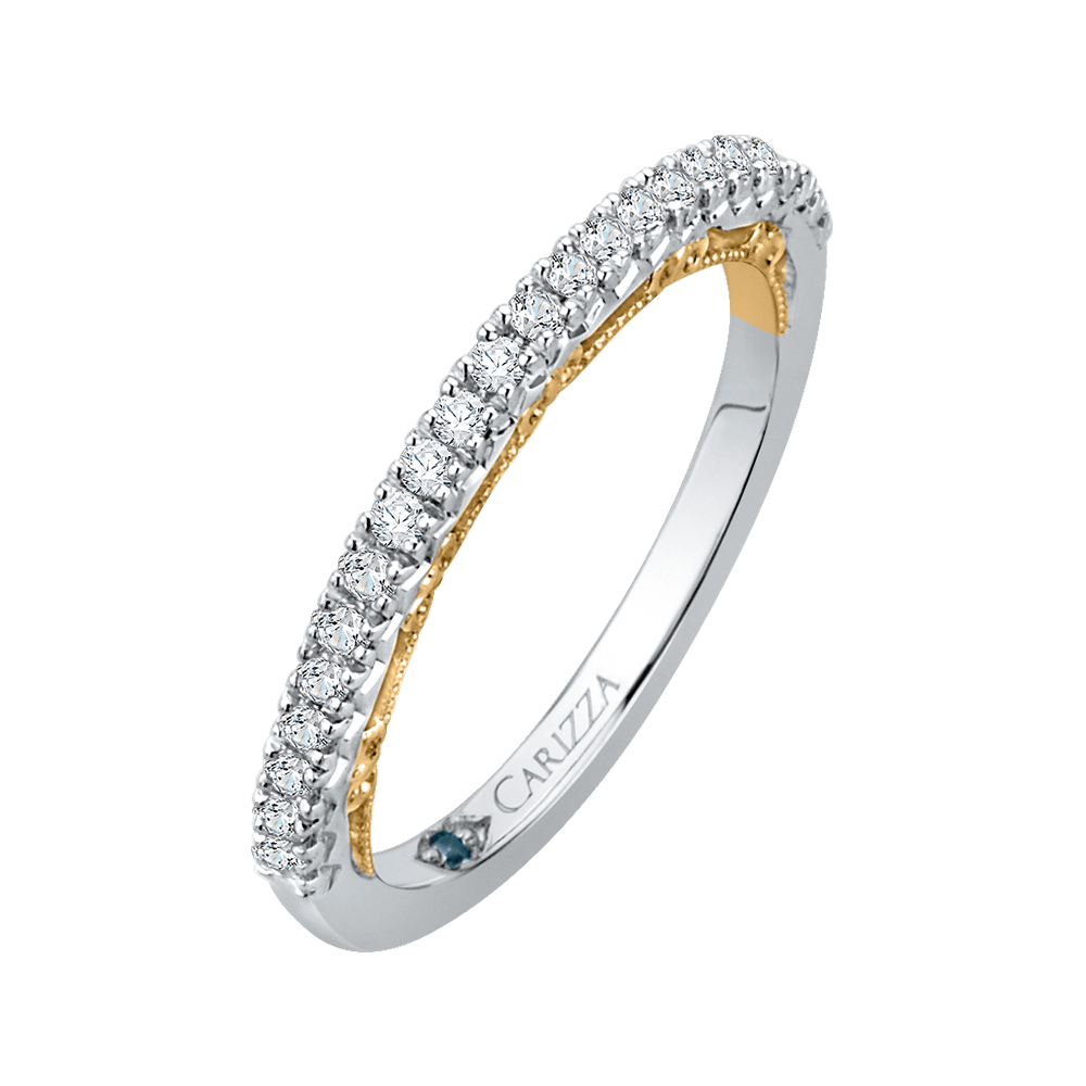14K Two Tone Gold Round Diamond Half Eternity Wedding Band Wedding Band CARIZZA