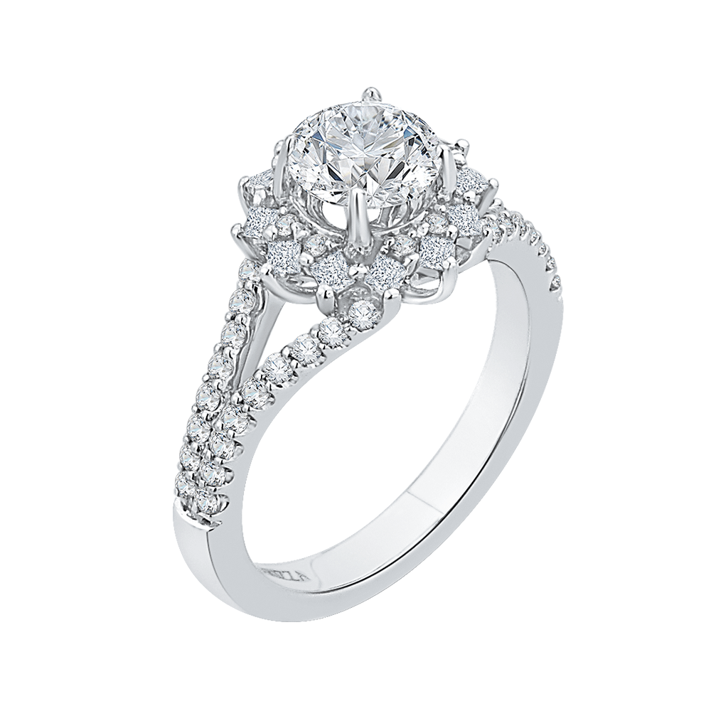 14K White Gold Round Diamond Halo Engagement Ring with Split Shank (Semi Mount) Engagement Ring CARIZZA