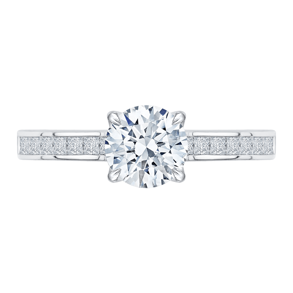 14K White Gold Cut Round Diamond Cathedral Style Engagement Ring (Semi Mount) Engagement Ring CARIZZA