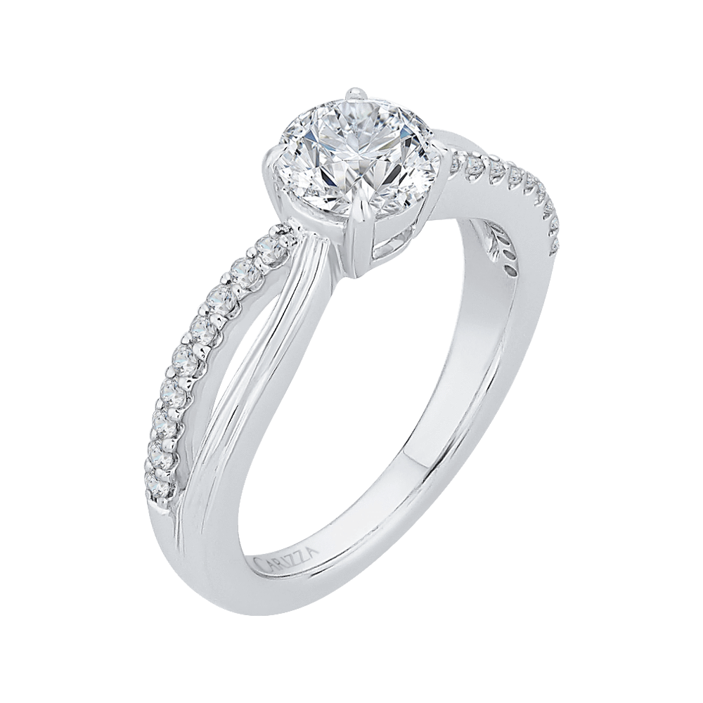 Round Diamond Engagement Ring with Split Shank In 14K White Gold (Semi Mount) Engagement Ring CARIZZA
