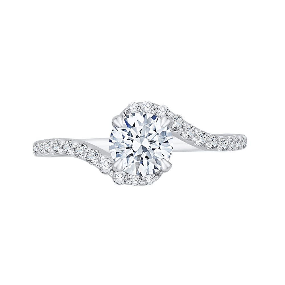 14K White Gold Round Diamond Promise Engagement Ring (Semi Mount) Engagement Ring CARIZZA