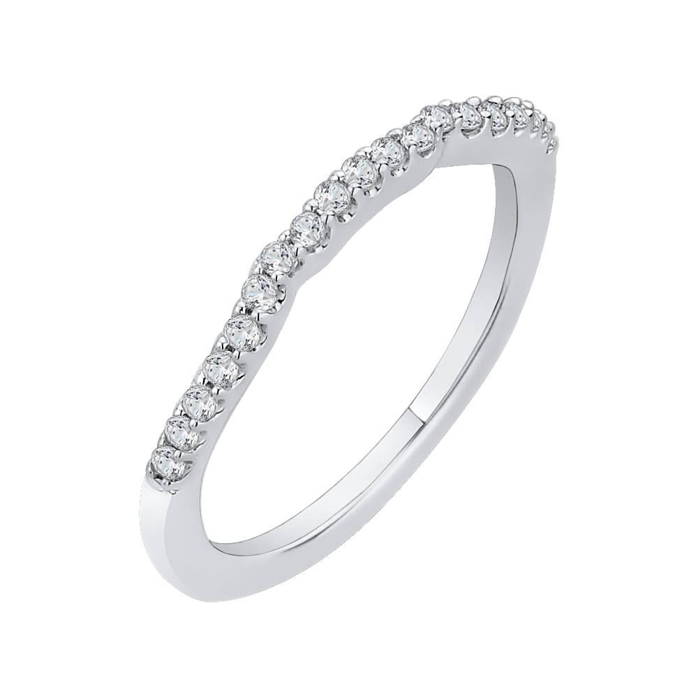 14K White Gold Round Diamond Wedding Band Wedding Band CARIZZA