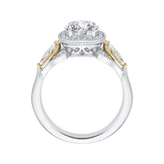 14K Tow Tone Gold Round Diamond Halo Engagement Ring (Semi Mount) Engagement Ring CARIZZA