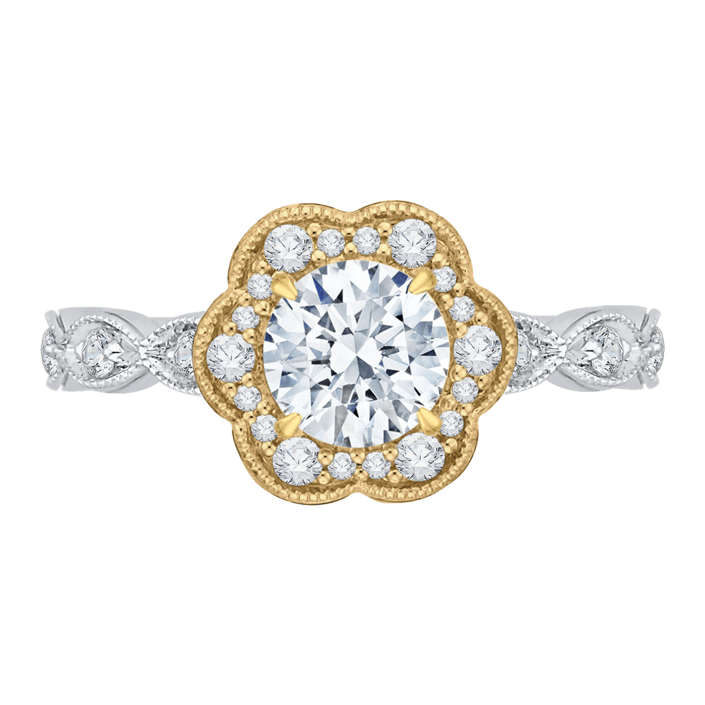 14K Two-Tone Gold and Diamond Floral Semi-Mount
