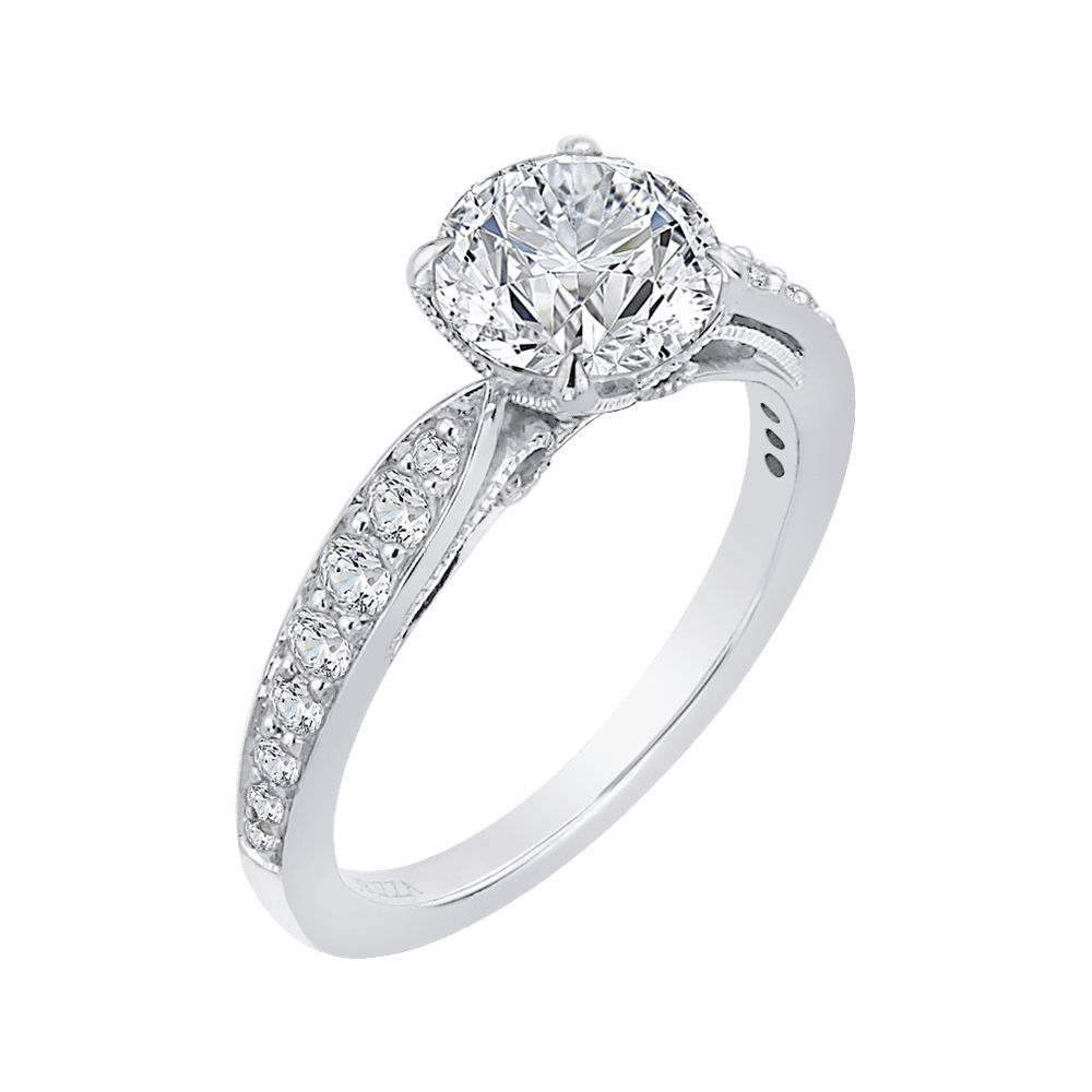 14K White Gold Round Diamond Floral Engagement Ring (Semi Mount) Engagement Ring CARIZZA