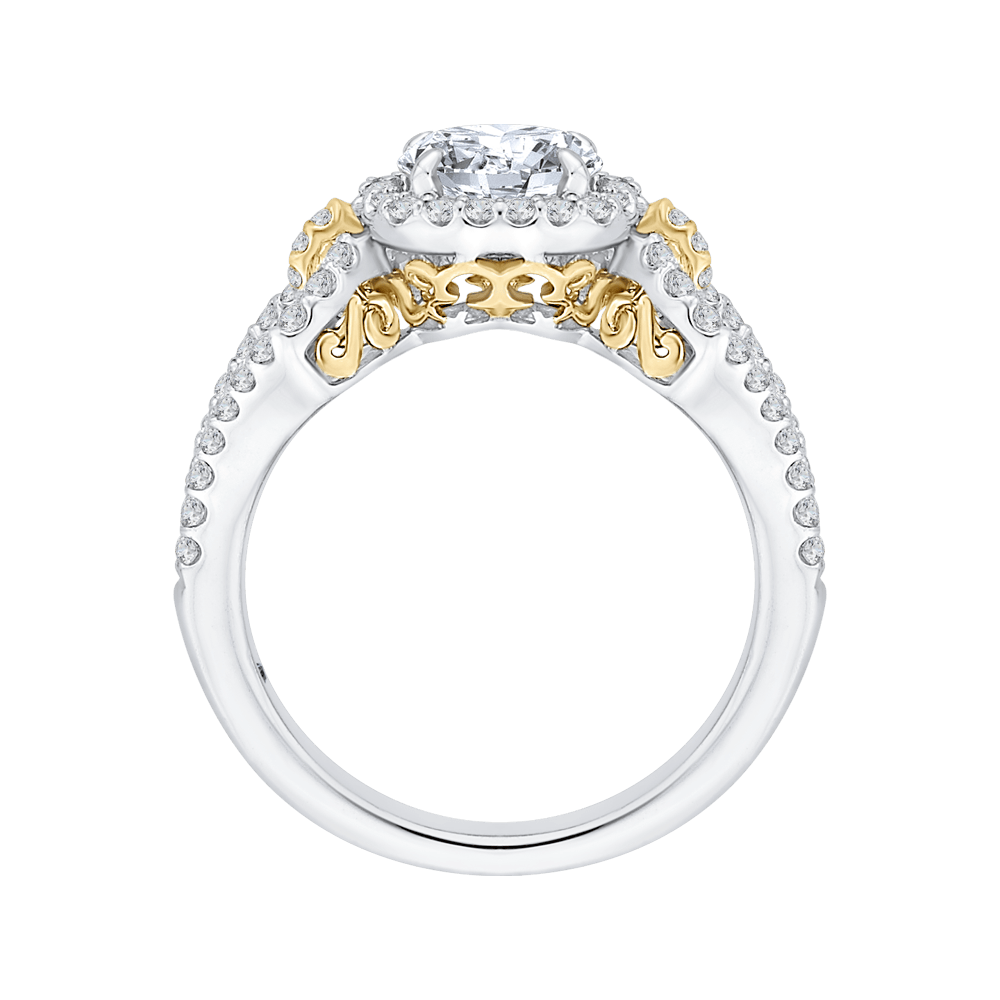 14K Tow Tone Gold Round Diamond Halo Engagement Ring with Split Shank (Semi Mount) Engagement Ring CARIZZA