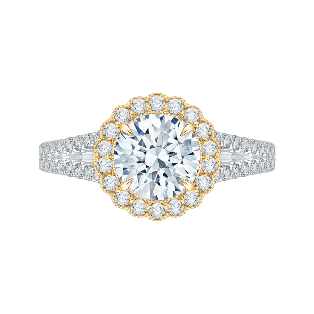 14K Two Tone Gold Round Diamond Halo Engagement Ring with Split Shank (Semi Mount) Engagement Ring CARIZZA