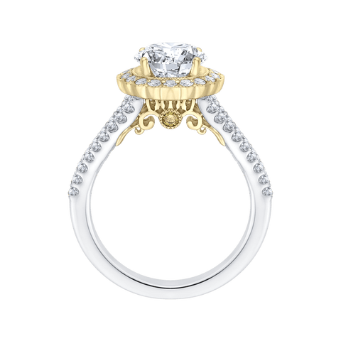 Image of 14K-Two-Tone-Gold-Round-Diamond-Halo-Engagement-Ring-with-Split-Shank-(Semi-Mount)