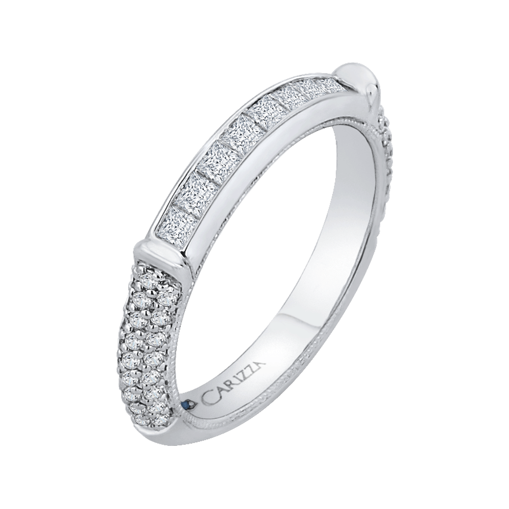 14K White Gold Princess & Round Diamond Wedding Band Wedding Band CARIZZA