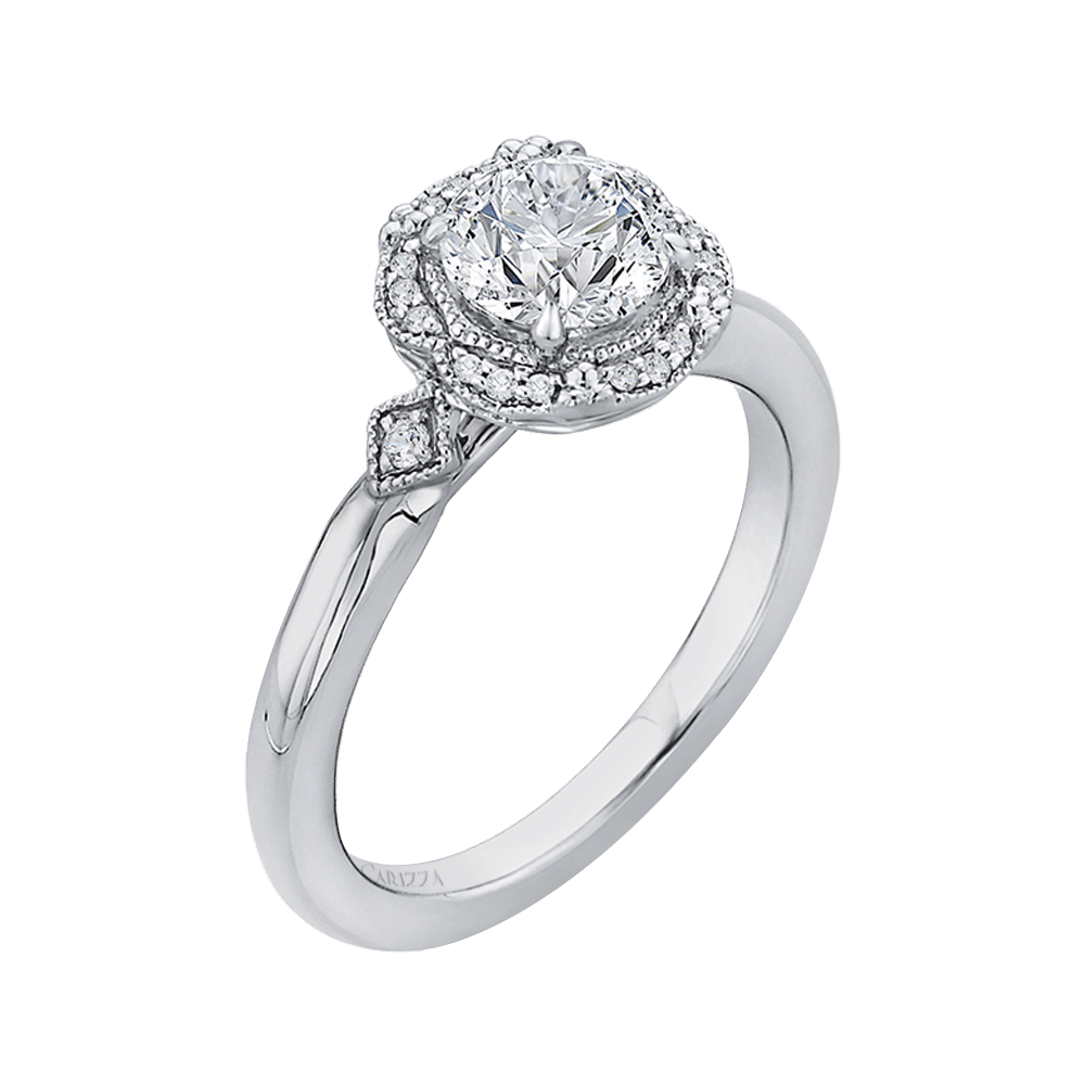 Round Diamond Cathedral Style Engagement Ring In 14K White Gold (Semi Mount) Engagement Ring CARIZZA