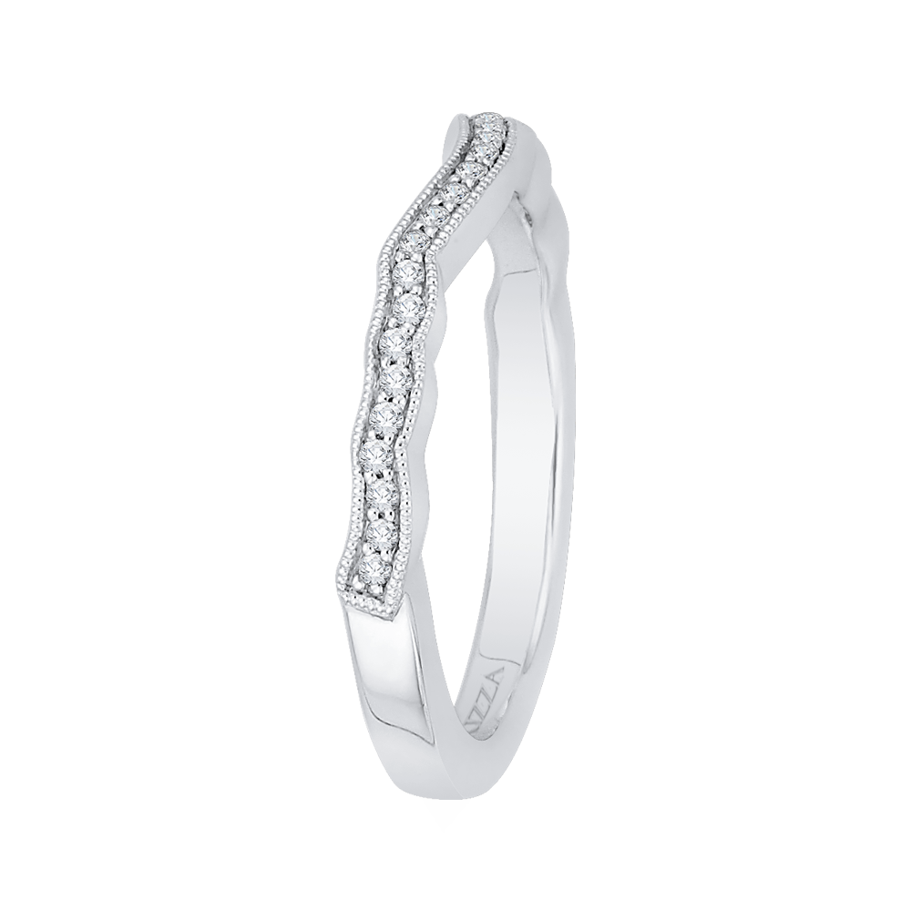Round Diamond Half Eternity Wedding Band In 14K White Gold Wedding Band CARIZZA