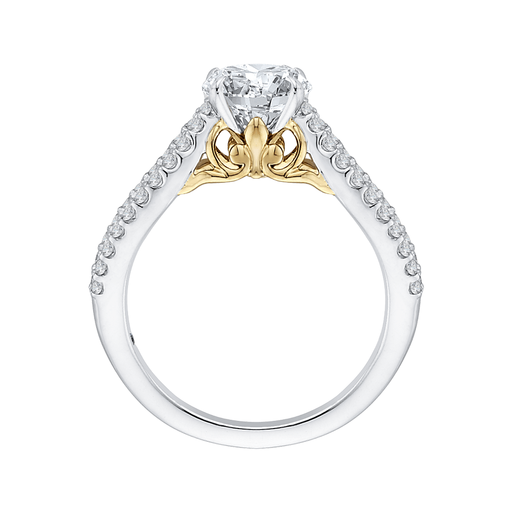 14K Tow Tone Gold Round Diamond Engagement Ring with Split Shank (Semi Mount) Engagement Ring CARIZZA