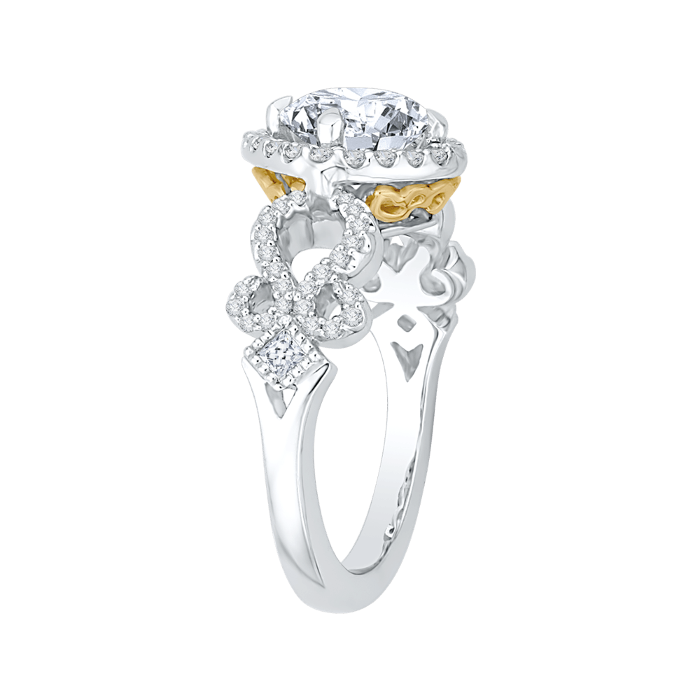 14K-Two-Tone-Gold-Round-Diamond-Halo-Engagement-Ring-with-Split-Shank-(Semi-Mount)
