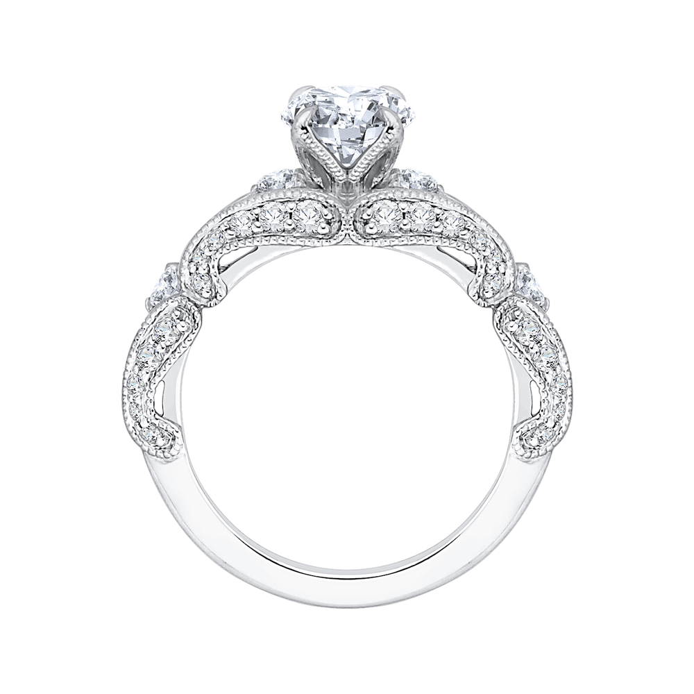 14K White Gold Round Diamond Vintage Engagement Ring with Split Shank (Semi Mount) Engagement Ring CARIZZA