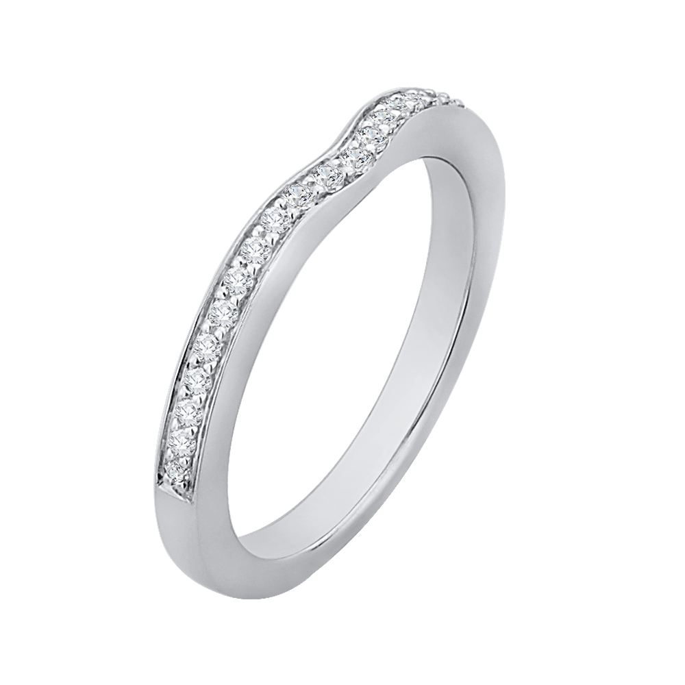 Half Eternity Round Diamond Wedding Band In 14K White Gold Wedding Band CARIZZA