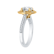 14K Two Tone Gold Round Diamond Cathedral Style Engagement Ring (Semi Mount) Engagement Ring CARIZZA