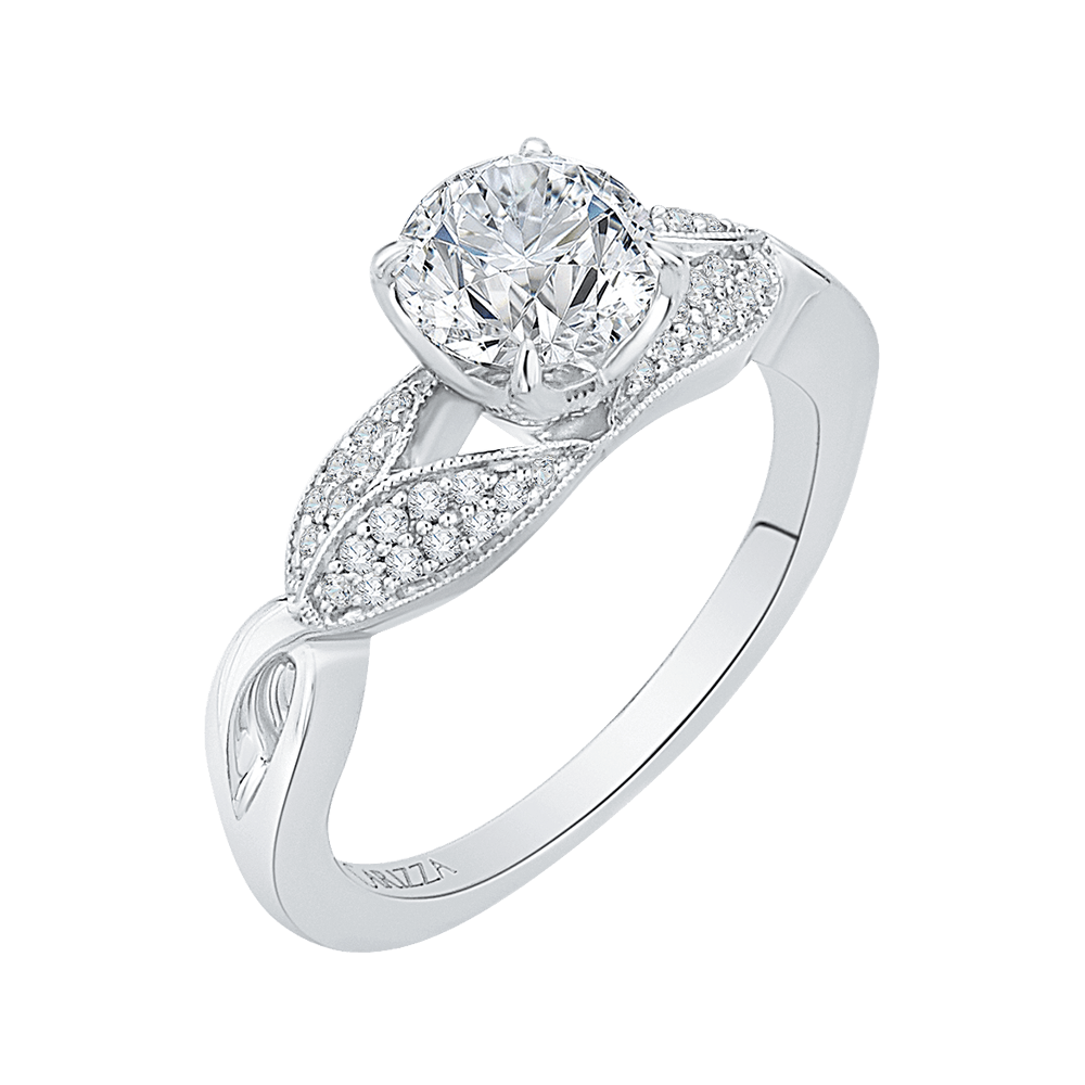 14K White Gold Round Diamond Floral Engagement Ring with Split Shank (Semi Mount) Engagement Ring CARIZZA
