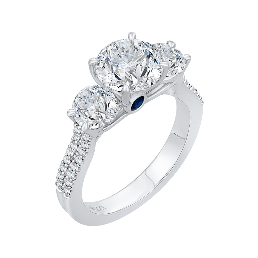 14K White Gold Round Cut Diamond Three Stone Cathedral Style Engagement Ring (Semi Mount) Engagement Ring CARIZZA