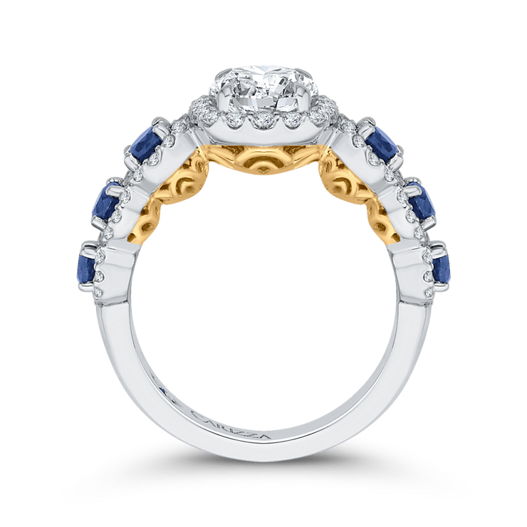 14K Two Tone Gold Round Diamond Engagement Ring with Sapphire (Semi Mount) Engagement Ring CARIZZA