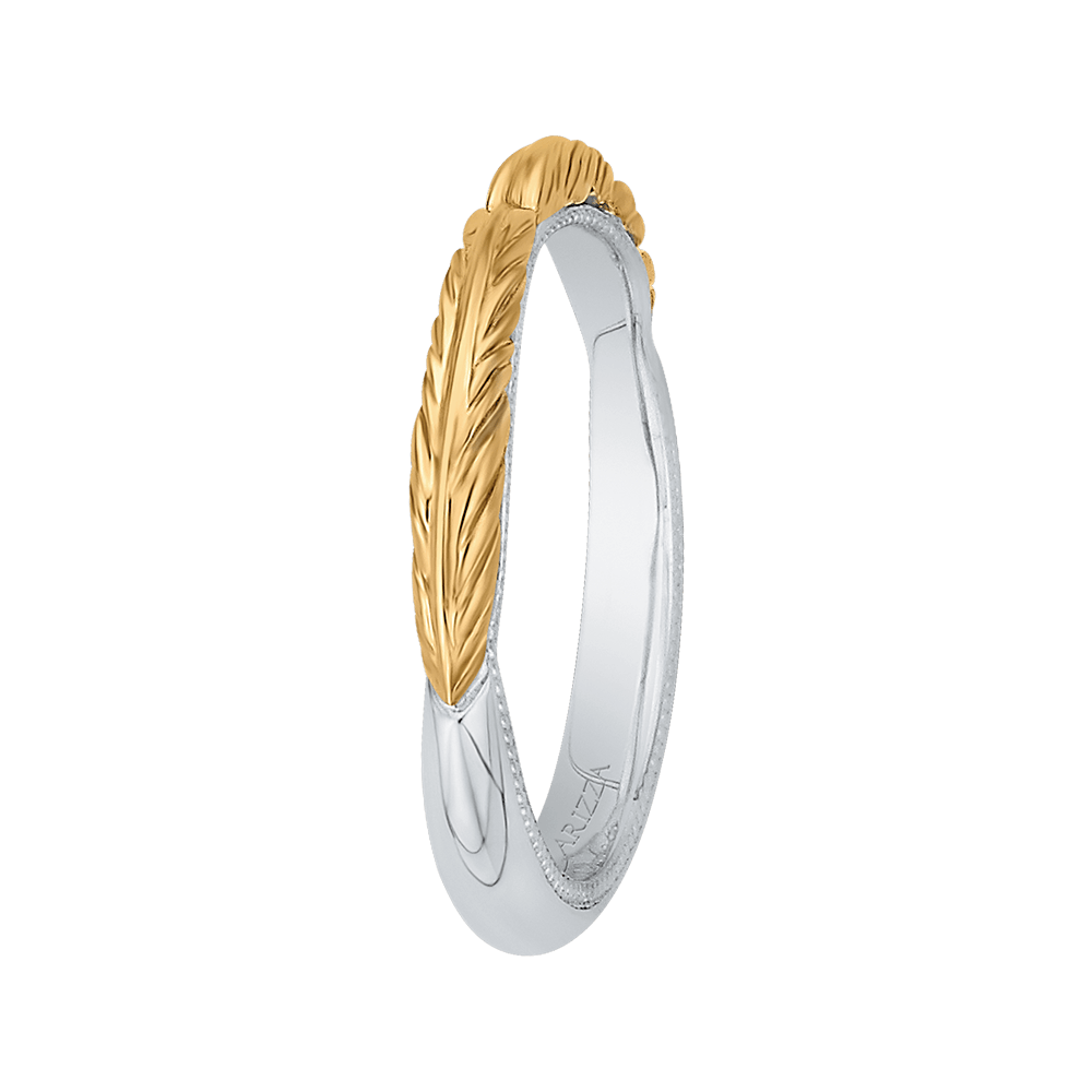 14K Two Tone Gold Plain Wedding Band Wedding Band CARIZZA