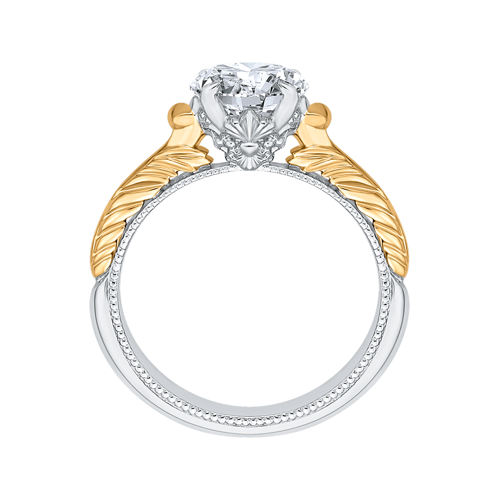 Round Cut Solitaire Diamond Vintage Engagement Ring In 14K Two Tone Gold (Semi Mount) Engagement Ring CARIZZA