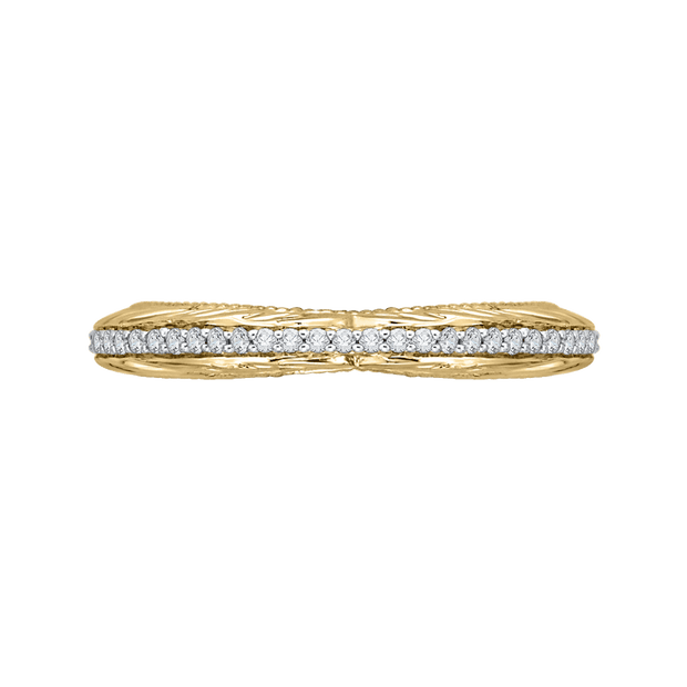 14K Two Tone Gold Round Diamond Wedding Band Wedding Band CARIZZA