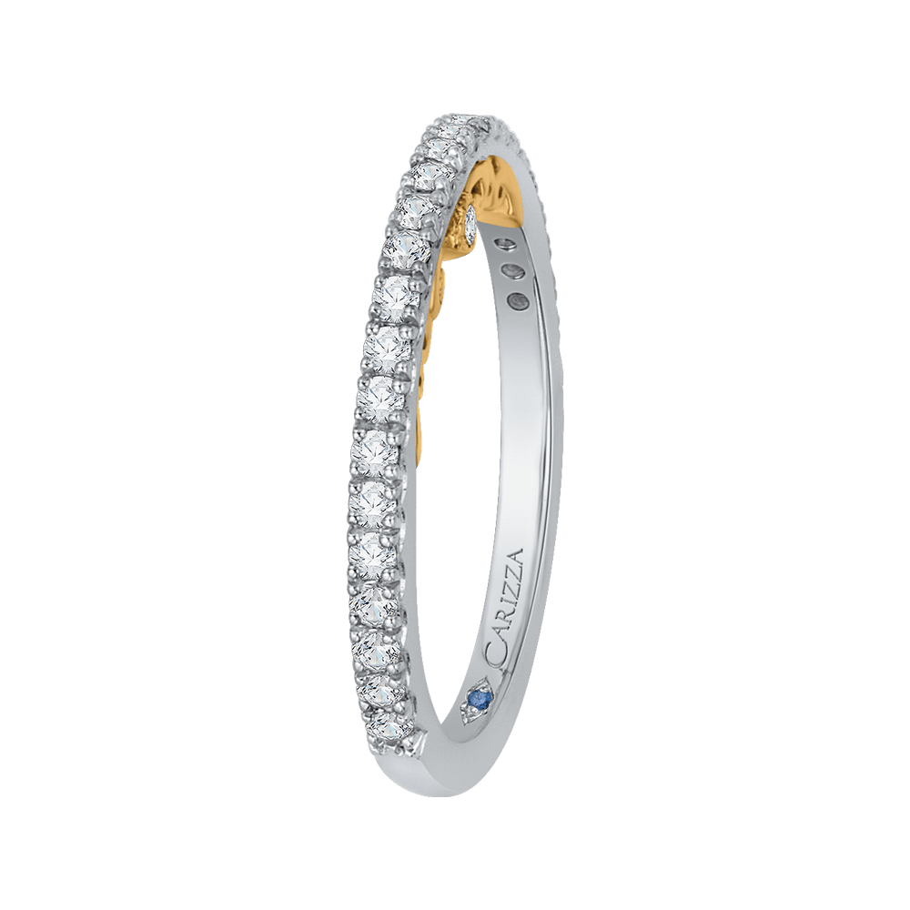 14K Two Tone Gold Round Cut Diamond Wedding Band Wedding Band CARIZZA