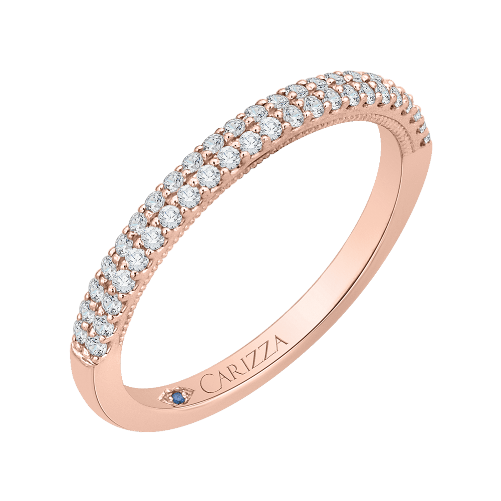 14K Rose Gold Round Diamond Wedding Band Wedding Band CARIZZA