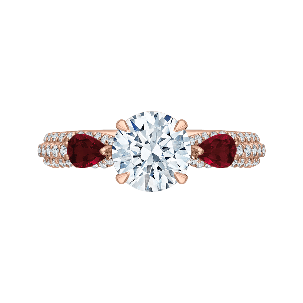 14K Rose Gold Diamond and Ruby Engagement Ring