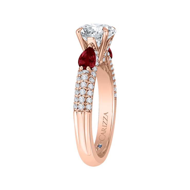 14K Rose Gold Round Diamond and Ruby Engagement Ring (Semi Mount) Engagement Ring CARIZZA