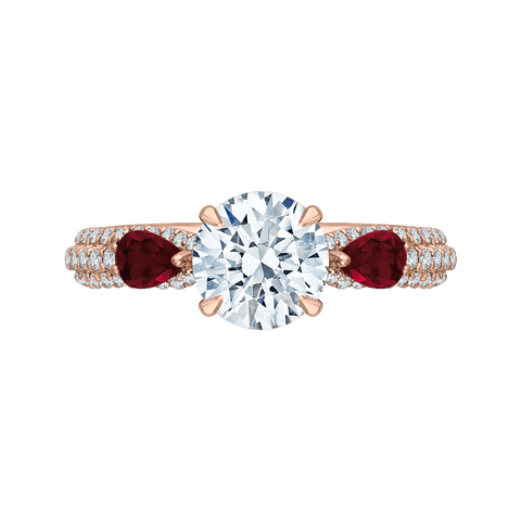 Image of 14K Rose Gold Diamond and Ruby Engagement Ring